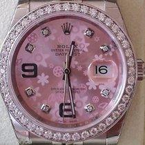 Rolex New Datejust Steel Pink Floral Dial Diamonds Bezel Box...
