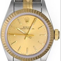 Rolex Ladies Oyster Perpetual 2-Tone Watch 67913 Champagne Dial
