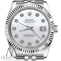 Rolex Mens Rolex 36mm Stainless Steel Datejust White Mop...