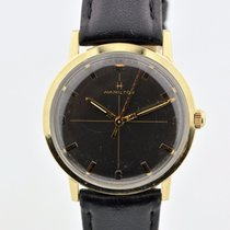 Hamilton 10k Gold Plated Black Crosshair Dial Manual Wind...