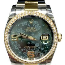 Rolex Datejust 36mm steel yellow gold Green Flower dial Diamond