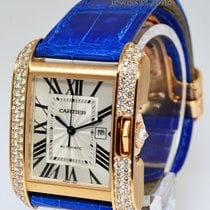 Cartier Tank Anglaise 18k Rose Gold Diamond Watch Box/Papers +...