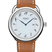Hermès Arceau Silver Dial Men's Leather Watch