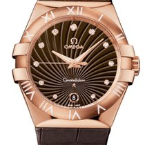 Omega Constellation Quartz Brown 35mm Ladies Watch Red Gold on...
