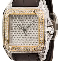 Cartier Santos 100 Large Diamond Set Watch with Gold Bezel and...