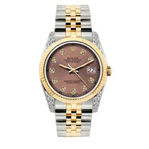 Rolex Datejust Men's 36mm Pink Dial Yellow Gold And...