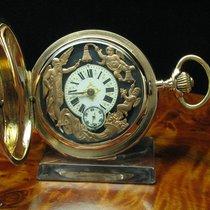 14kt Gold Savonette Viertel-repetition Figurenautomat Glockens...