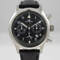 IWC Fliegerchronograph Steel Black Dial Leather Strap