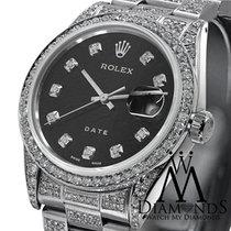 Rolex Stainless Steel Diamond Rolex Date 34mm Black Diamond...