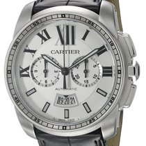 Cartier Calibre Chronograph Automatic BLK Leather Men Watch...