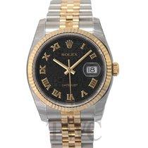 Rolex Datejust Black Dial Yellow Gold/Steel Jubilee Bracelet -...