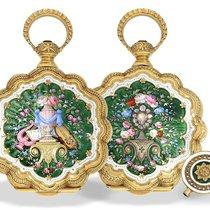 Pocket watch: rare gold/enamel pocket watch with diamond,...