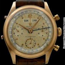 Rolex 6036 Vintage Triple Date Calendar Chronograph 18k Rose...