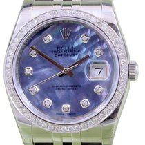 Rolex Datejust 116200 Blue Mother of Pearl Diamond Dial Bezel...