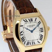 Cartier Tortue 18k Yellow Gold Mens Windup Watch & Box...