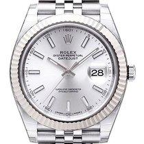 Rolex Datejust 41 Edelstahl Weißgold 126334 Silber Jubile
