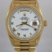 Rolex President Day Date Mens 18k Gold 18038 W/ Factory White...
