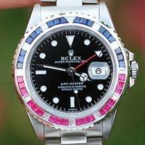 Rolex Watch Mens 40mm Stainless Steel Gmt Master Pepsi Diamond...