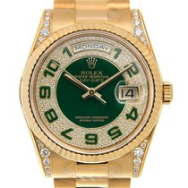 勞力士 (Rolex) Day-date Yellow Gold And Diamonds Green Automatic...
