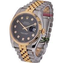 Rolex Unworn 116233 Datejust 36mm 2-Tone SS/YG with Black...
