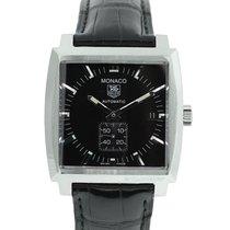 TAG Heuer Monaco WW2110 on Leather Black Dial Automatic Watch