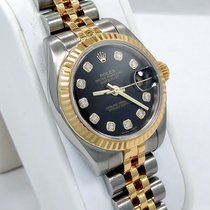 Rolex Datejust 179173 Black Fact Diamonds Dial 18k Y G &...