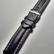 Breitling Blue leather 20mm Watch Band with genuine brushed...