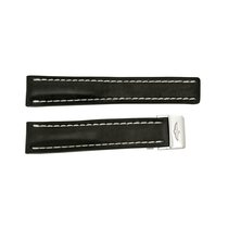 Breitling Strap styled in Black Leather and White Stitching...