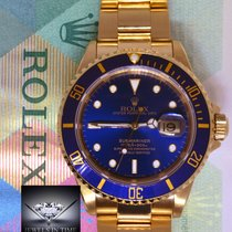 Rolex Submariner 18k Yellow Gold Blue Dial/Bezel Mens Dive...