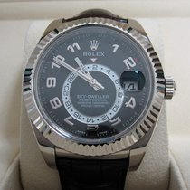 Rolex Sky-Dweller 18K White Gold/Black Dial/Leather Strap