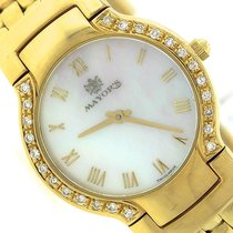 Mayor 18K Yellow Gold MOP Roman Diamond 25mm Swiss Quartz Watch