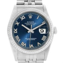 Rolex Datejust Steel White Gold Blue Roman Dial Mens Watch 16234