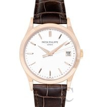 パテック・フィリップ (Patek Philippe) Men Calatrava White Rose Gold/Leat...