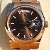 Rolex Day Date Everose Chocolat Dial LC 100 Full set