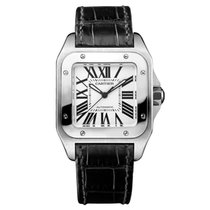 Cartier Santos 100 Medium Steel Leather Strap Unworn