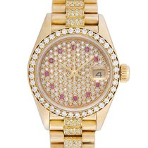 Rolex Ladies Rolex President 18k Gold Diamond Watch 69138
