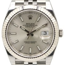 Rolex Datejust 41 126334 Silver Index Fluted White Gold...
