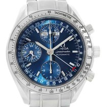 Omega Speedmaster Day-date Blue Dial Chronograph Mens Watch...