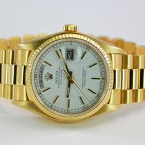 Rolex DayDate President 18kt YG White Dial w/Box+Papers-18038