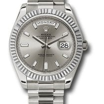 Rolex Oyster Perpetual Day-Date Silver Diamond Dial Automatic...