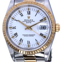 Rolex Oyster Date Gold Steel White Roman Dial 34 mm (1994)
