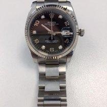 Rolex DATE 34 MM WHITE -BLACK 5 DIAMONDS DIAL