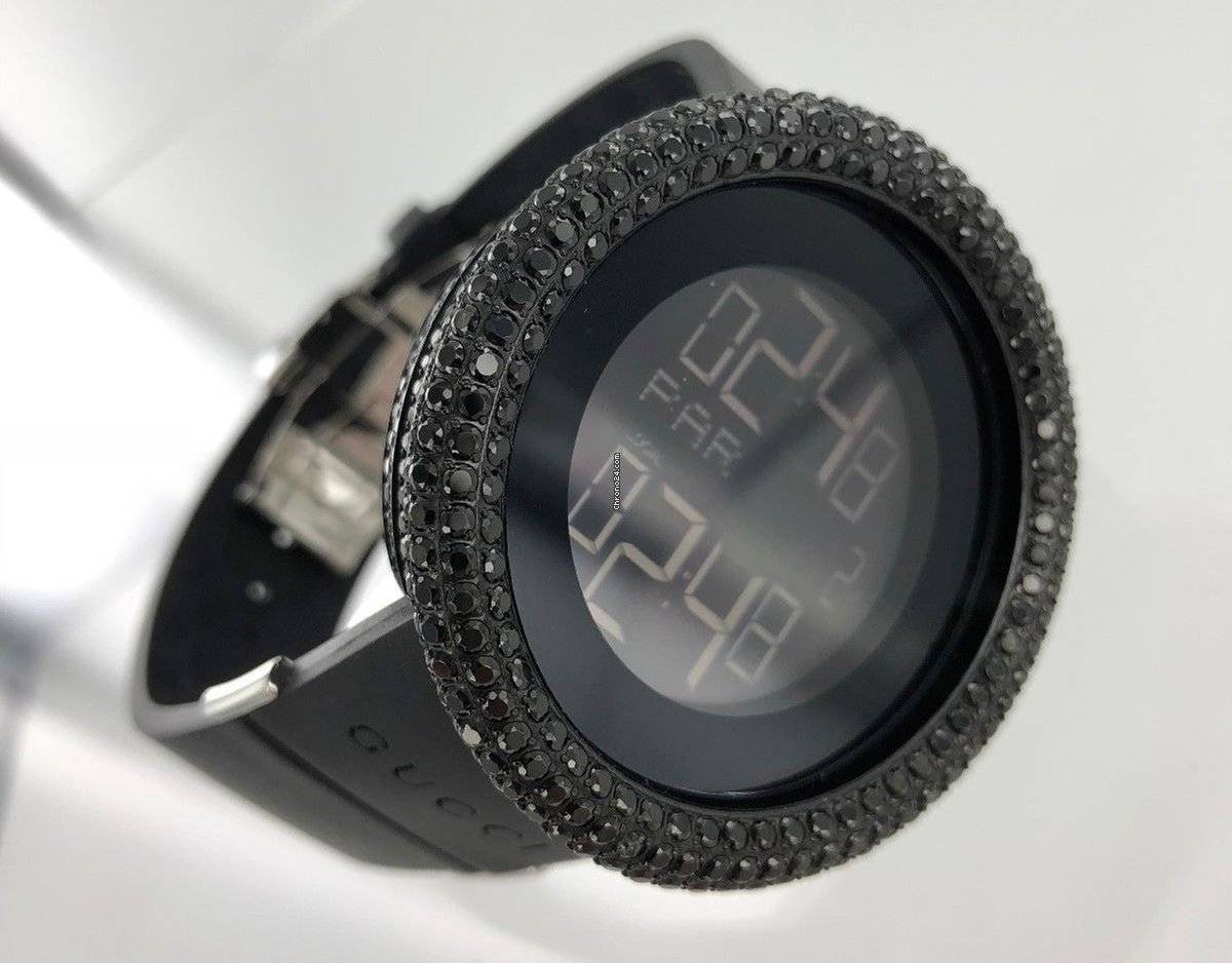 0de939a891c Gucci Mens Black Diamond Digital Gucci Watch for 1