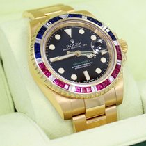 Rolex Gmt Master II 116718 18k Yellow Gold Pepsi Diamonds/rubi...