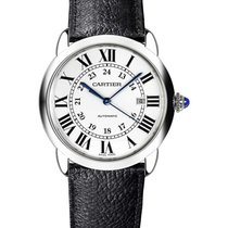 Cartier WSRN0022 Ronde Solo 42mm in Steel - on Black Calfskin...