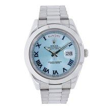 Ρολεξ (Rolex) DAY-DATE II 41mm Platinum Watch Ice Blue Dial