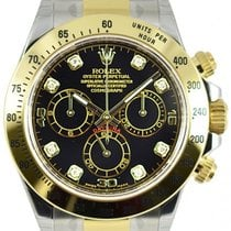 Rolex DAYTONA STEEL GOLD BLACK DIAMOND DIAL 116523 116503