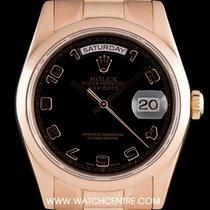 Rolex 18k Rose Gold O/P Black Arabic Dial Day-Date B&P 118205