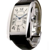 Cartier W2609956 Tank Americaine in White Gold - XL - On Black...
