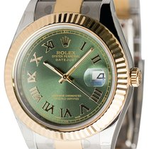 Rolex DateJust II 41mm watch in Steel/Gold with custom Olive...